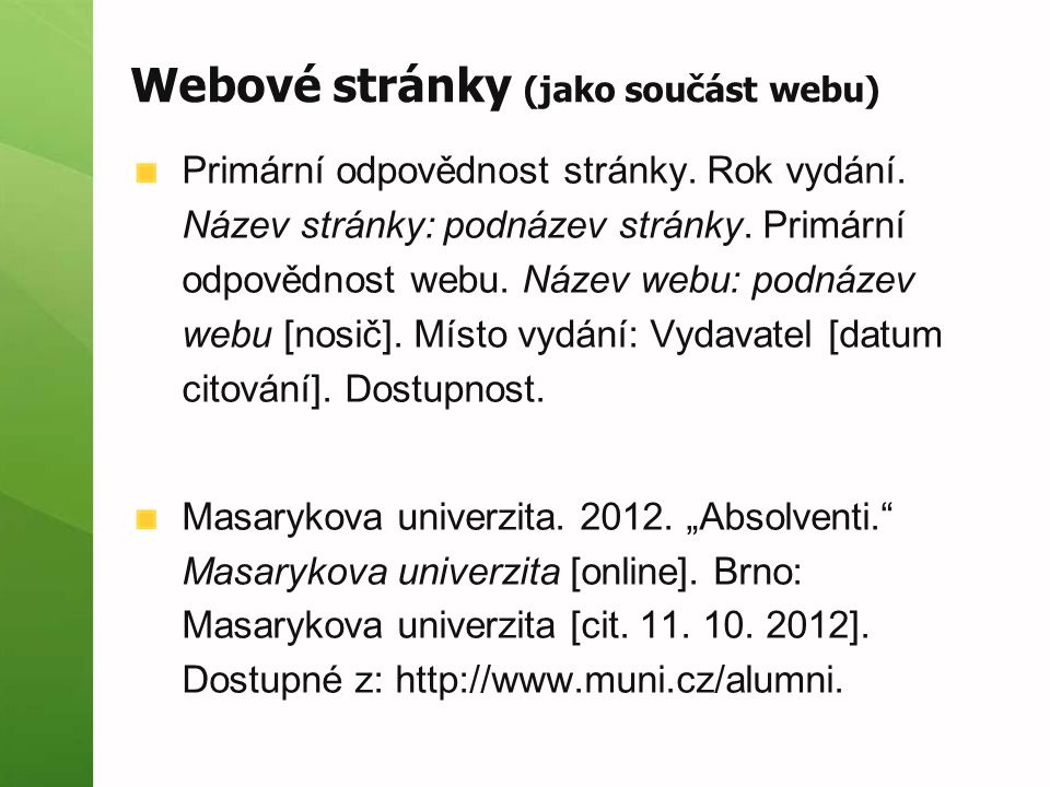 Webové stránky (jako součást webu)