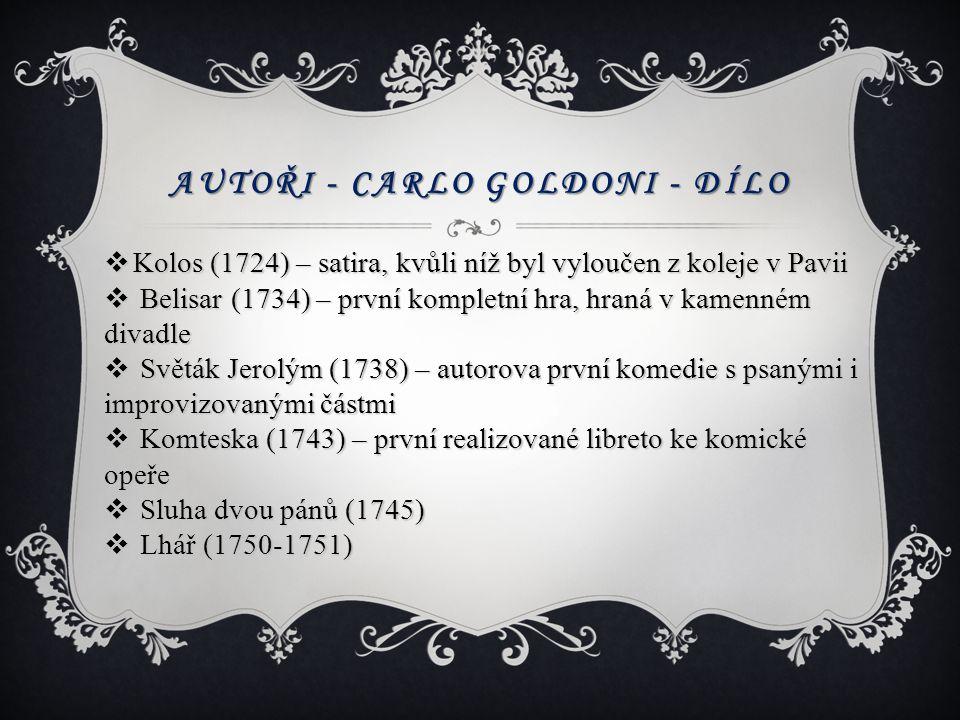 Autoři - Carlo Goldoni - dílo