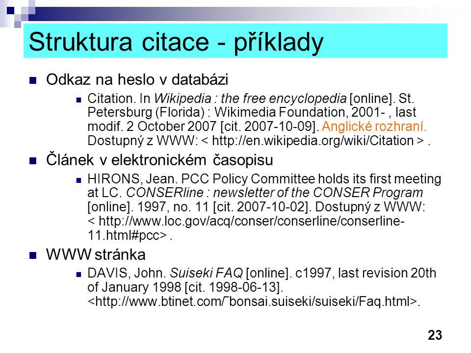Struktura citace - příklady
