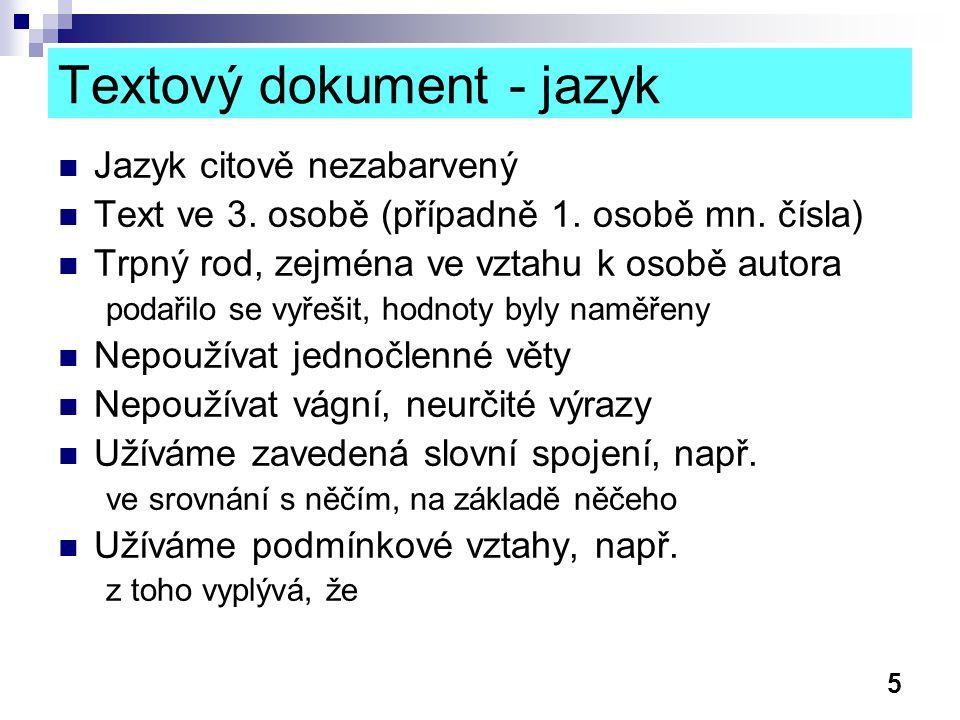 Textový dokument - jazyk