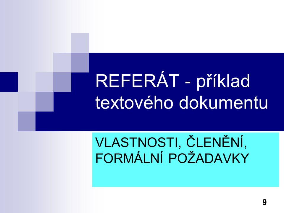 REFERÁT - příklad textového dokumentu