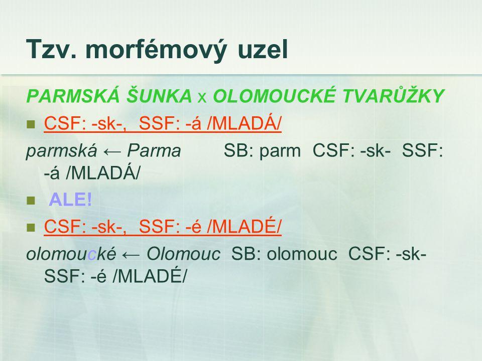 Tzv. morfémový uzel PARMSKÁ ŠUNKA x OLOMOUCKÉ TVARŮŽKY