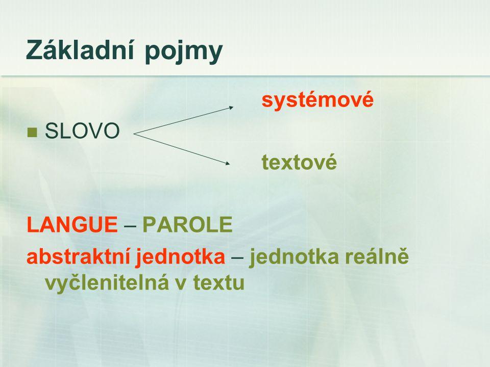 Základní pojmy systémové SLOVO textové LANGUE – PAROLE