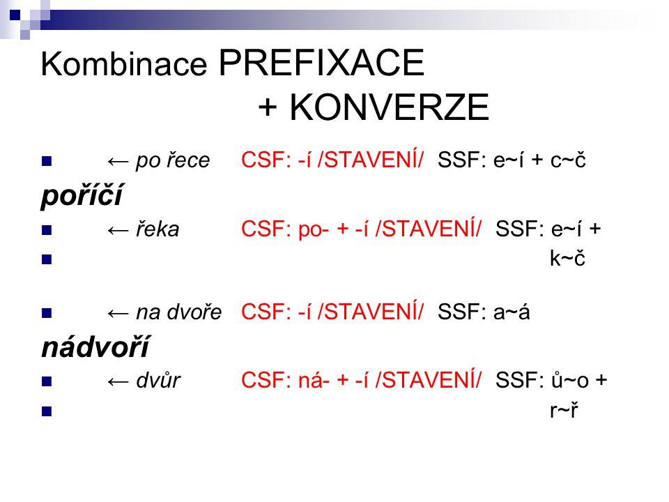 Kombinace PREFIXACE + KONVERZE