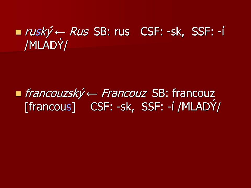 ruský ← Rus SB: rus CSF: -sk, SSF: -í /MLADÝ/