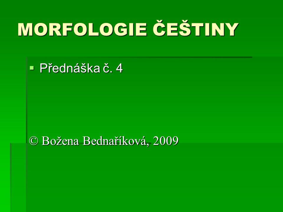 MORFOLOGIE ČEŠTINY Přednáška č. 4 © Božena Bednaříková, 2009