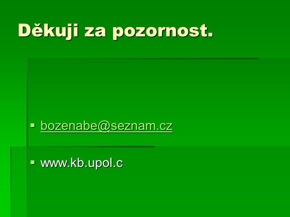 Děkuji za pozornost. bozenabe@seznam.cz www.kb.upol.c