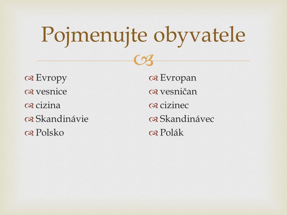 Pojmenujte obyvatele Evropy vesnice cizina Skandinávie Polsko Evropan