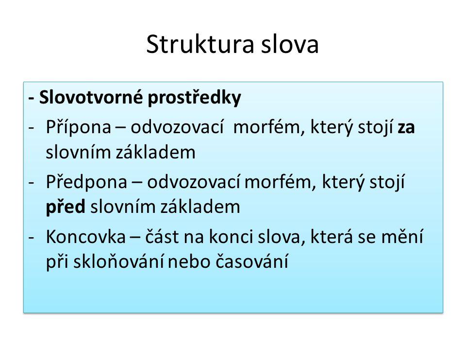 Struktura slova - Slovotvorné prostředky