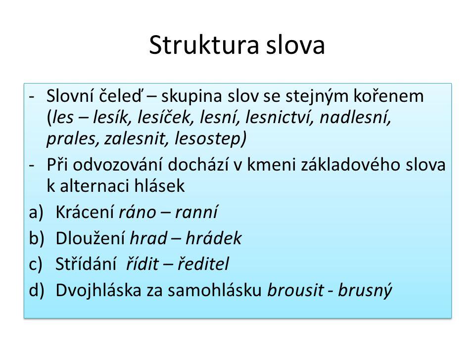 Struktura slova Slovní čeleď – skupina slov se stejným kořenem (les – lesík, lesíček, lesní, lesnictví, nadlesní, prales, zalesnit, lesostep)