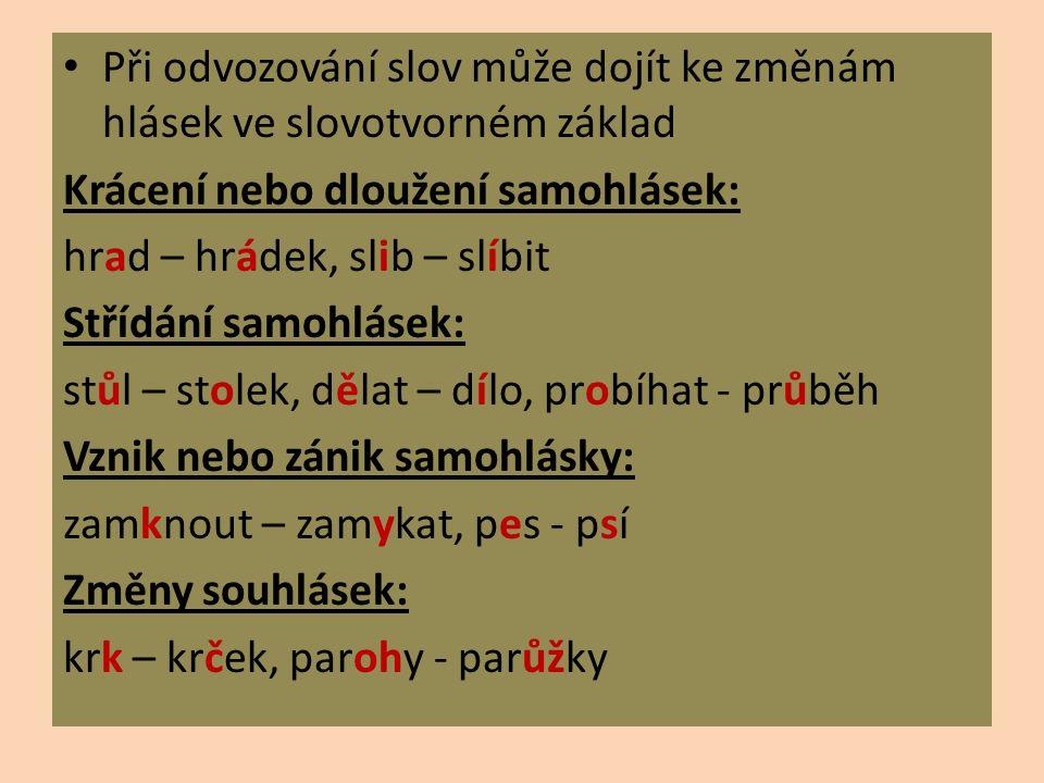 Při odvozování slov může dojít ke změnám hlásek ve slovotvorném základ