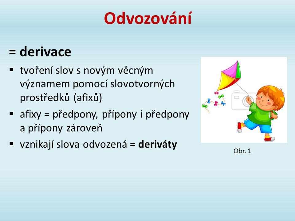 Odvozování = derivace.