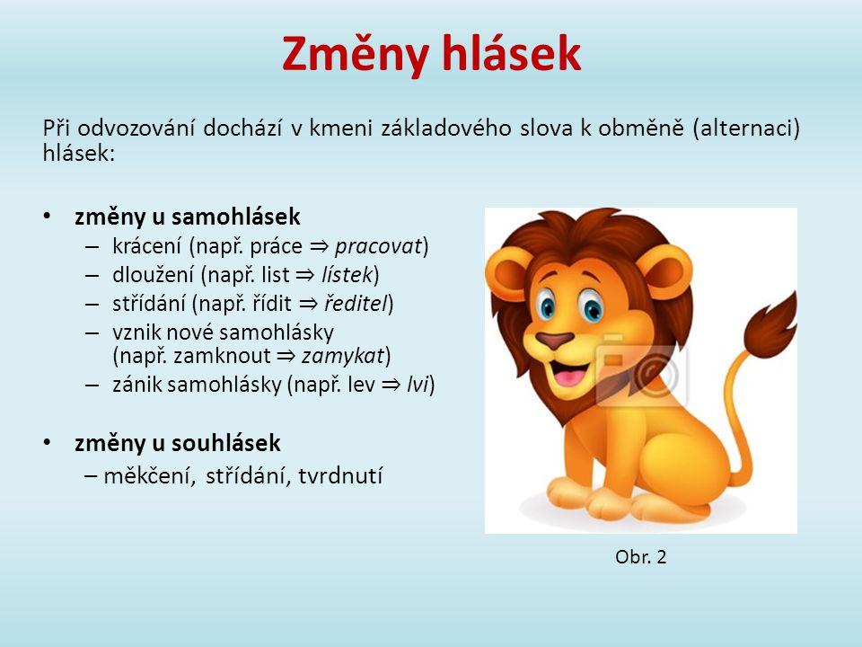Změny hlásek Při odvozování dochází v kmeni základového slova k obměně (alternaci) hlásek: změny u samohlásek.