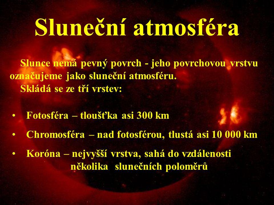 Sluneční atmosféra Slunce nemá pevný povrch - jeho povrchovou vrstvu označujeme jako sluneční atmosféru. Skládá se ze tří vrstev: