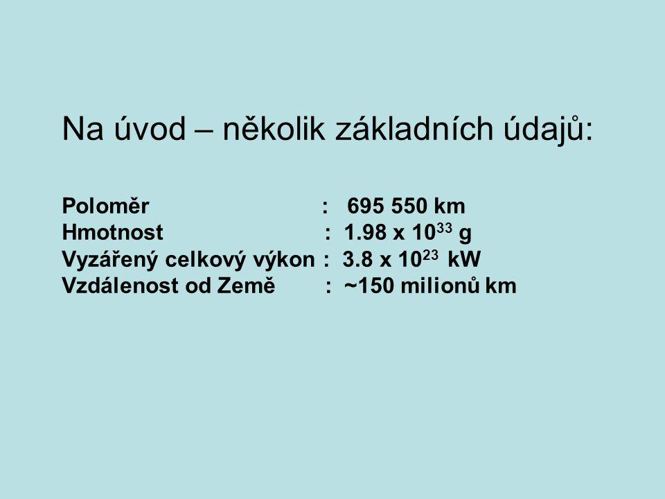 Na úvod – několik základních údajů: Poloměr : 695 550 km Hmotnost : 1