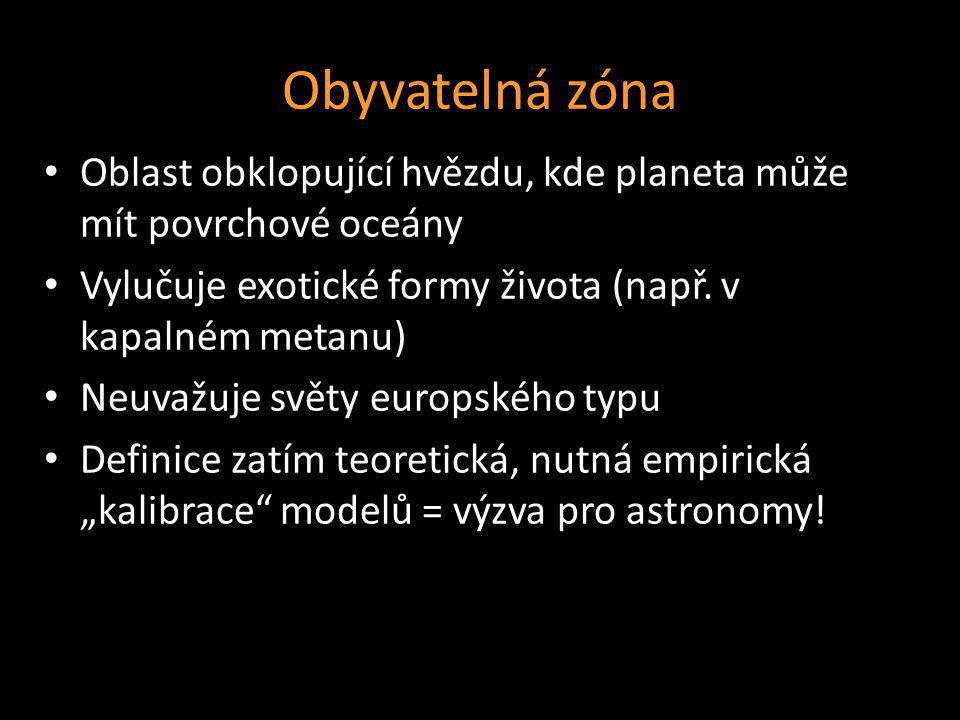 Obyvatelná zóna Oblast obklopující hvězdu, kde planeta může mít povrchové oceány. Vylučuje exotické formy života (např. v kapalném metanu)