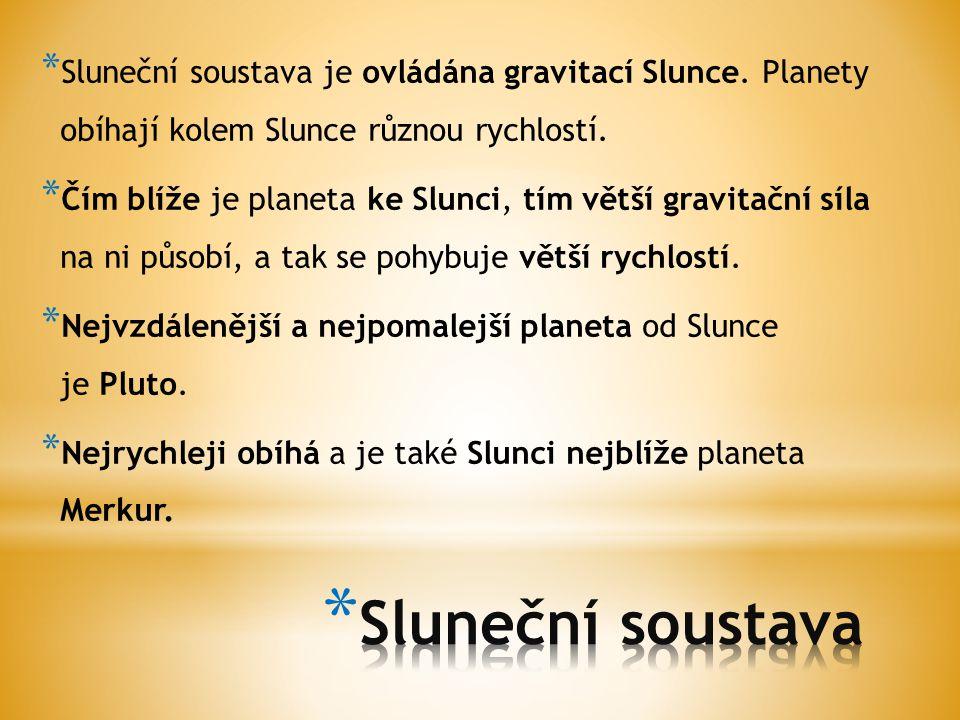 Sluneční soustava je ovládána gravitací Slunce