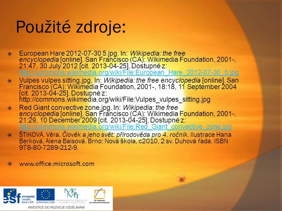 Použité zdroje: www.office.microsoft.com