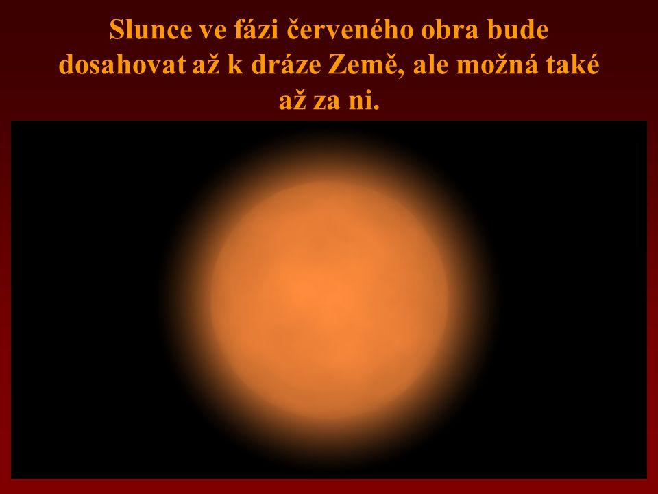 Slunce ve fázi červeného obra bude dosahovat až k dráze Země, ale možná také až za ni.