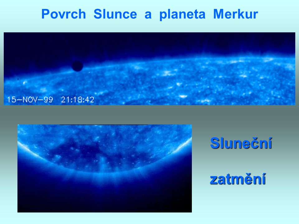 Povrch Slunce a planeta Merkur
