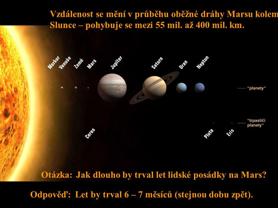Vzdálenost se mění v průběhu oběžné dráhy Marsu kolem Slunce – pohybuje se mezi 55 mil. až 400 mil. km.
