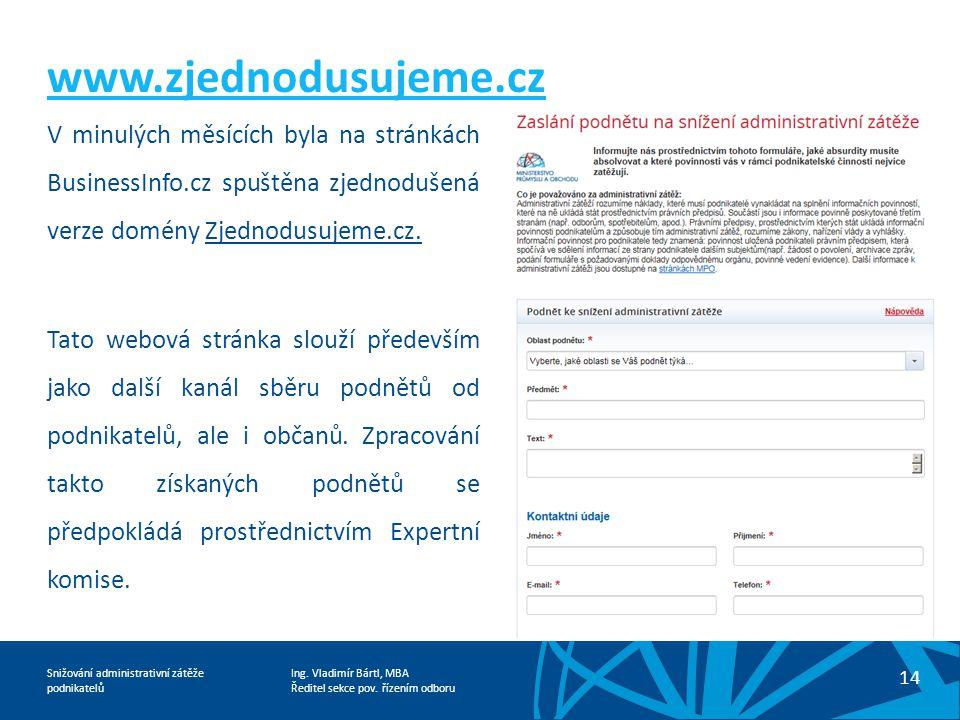 www.zjednodusujeme.cz V minulých měsících byla na stránkách BusinessInfo.cz spuštěna zjednodušená verze domény Zjednodusujeme.cz.