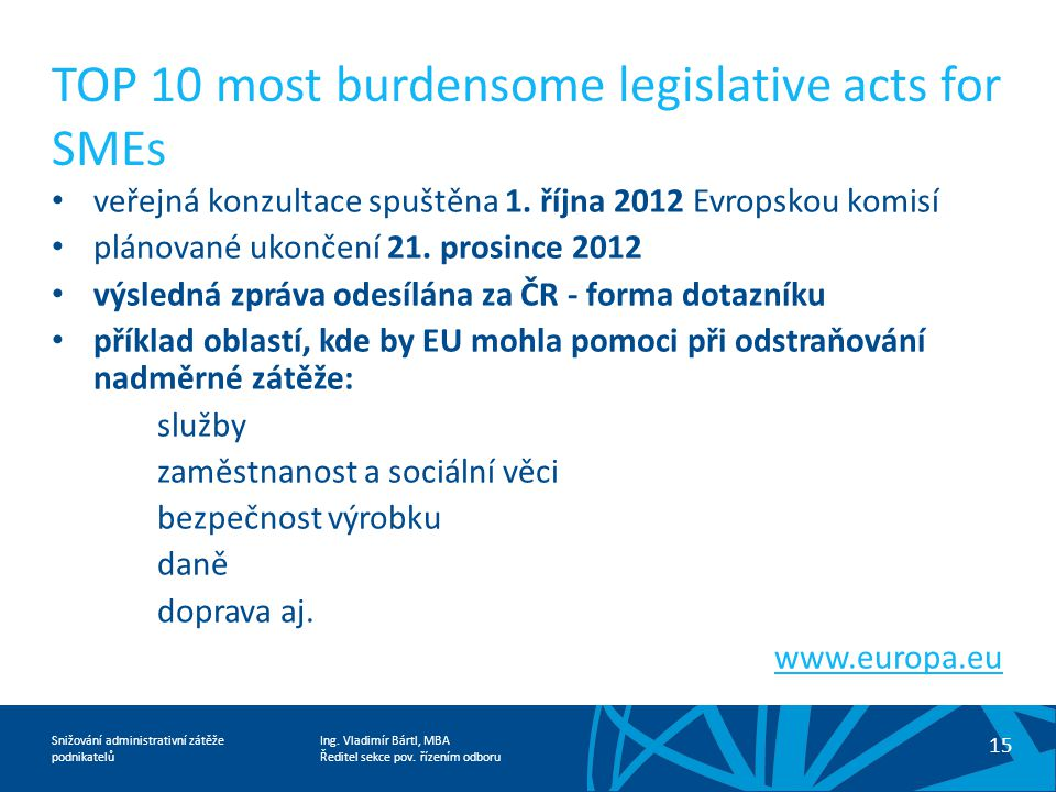 TOP 10 most burdensome legislative acts for SMEs