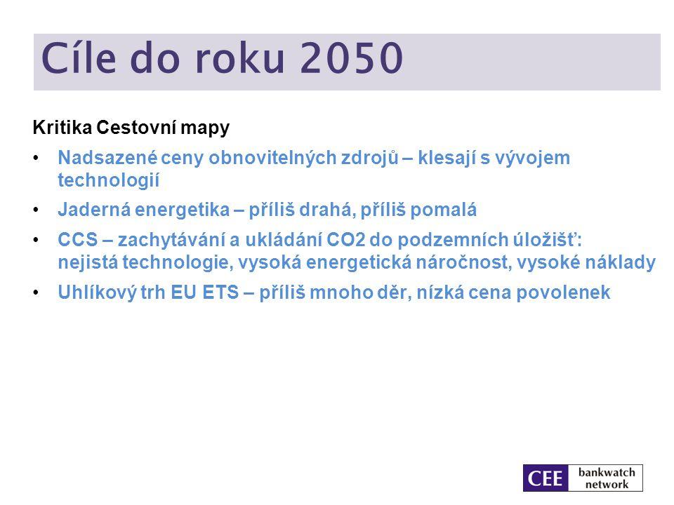 Cíle do roku 2050 Kritika Cestovní mapy