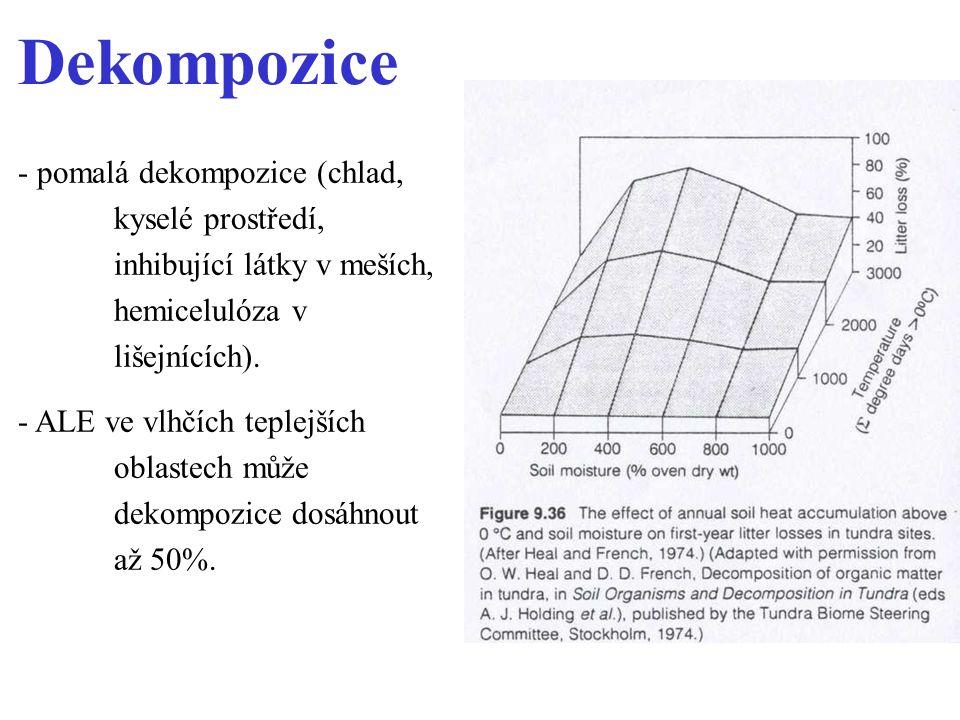 Dekompozice - pomalá dekompozice (chlad, kyselé prostředí, inhibující látky v meších, hemicelulóza v lišejnících).