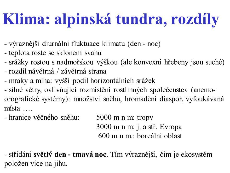 Klima: alpinská tundra, rozdíly