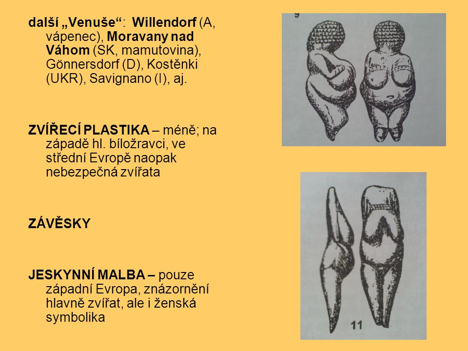 "další ""Venuše : Willendorf (A, vápenec), Moravany nad Váhom (SK, mamutovina), Gönnersdorf (D), Kostěnki (UKR), Savignano (I), aj."