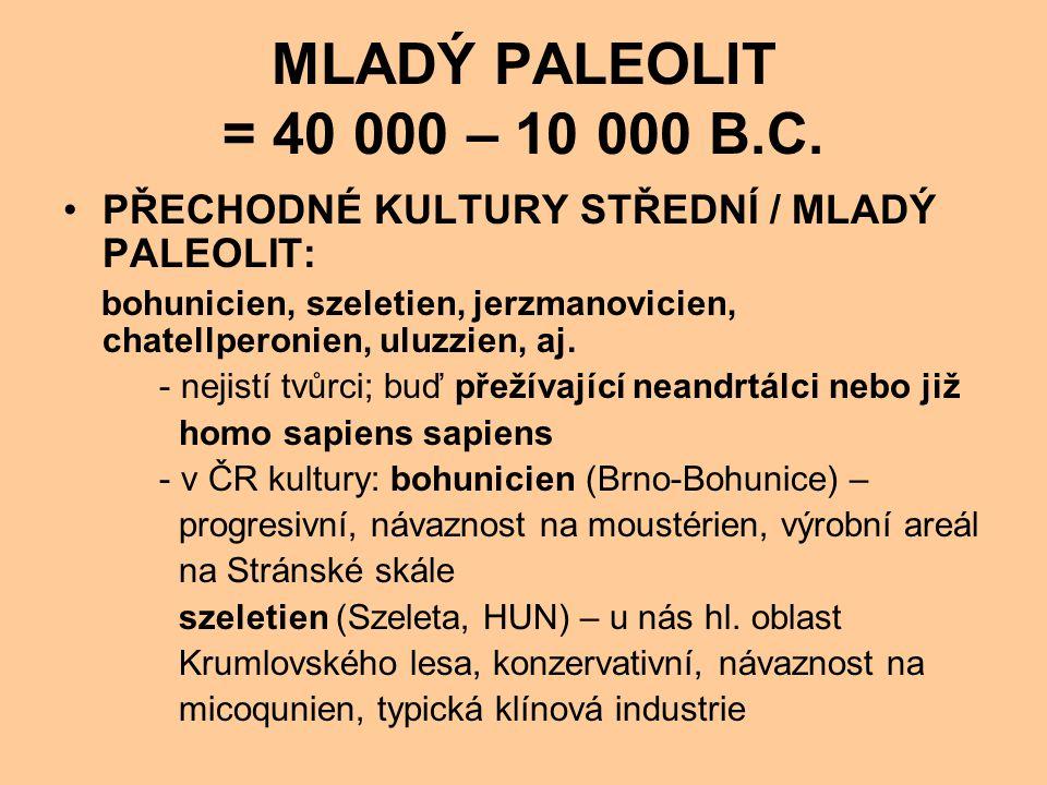 MLADÝ PALEOLIT = 40 000 – 10 000 B.C. PŘECHODNÉ KULTURY STŘEDNÍ / MLADÝ PALEOLIT: