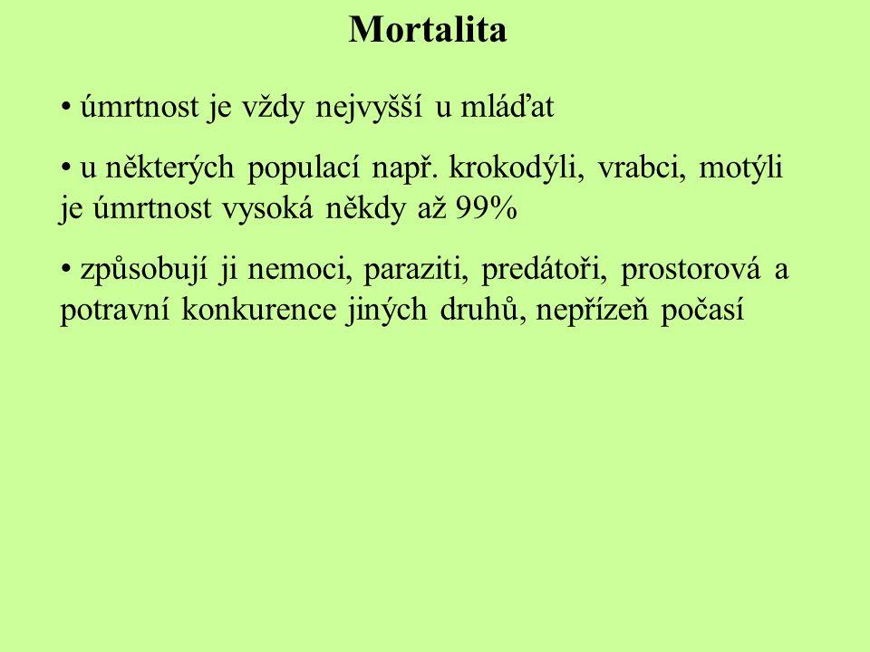 Mortalita úmrtnost je vždy nejvyšší u mláďat