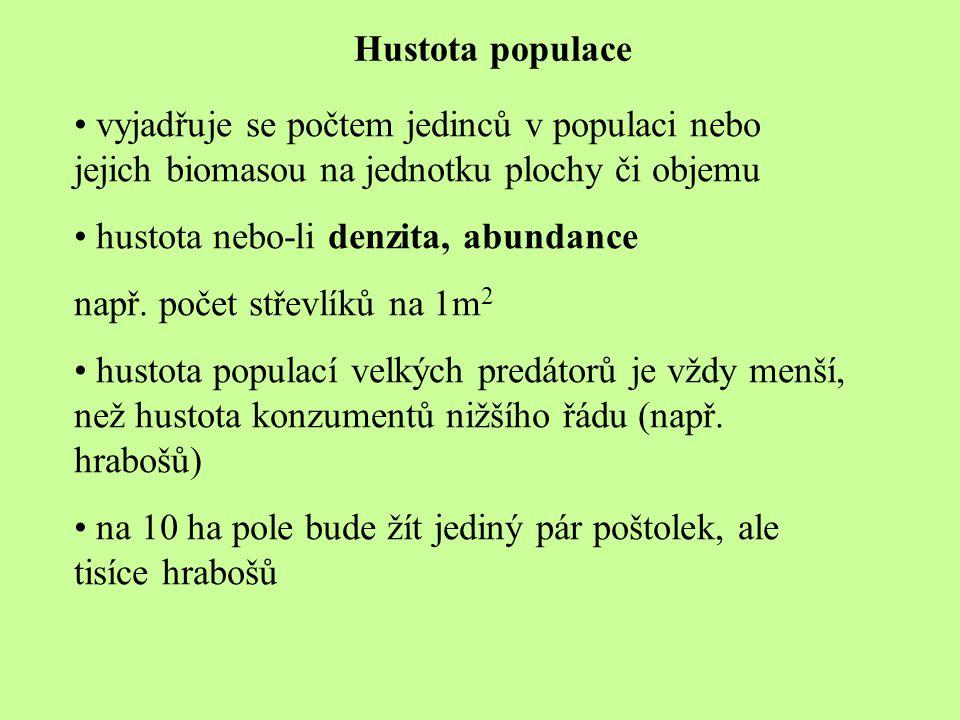 Hustota populace vyjadřuje se počtem jedinců v populaci nebo jejich biomasou na jednotku plochy či objemu.