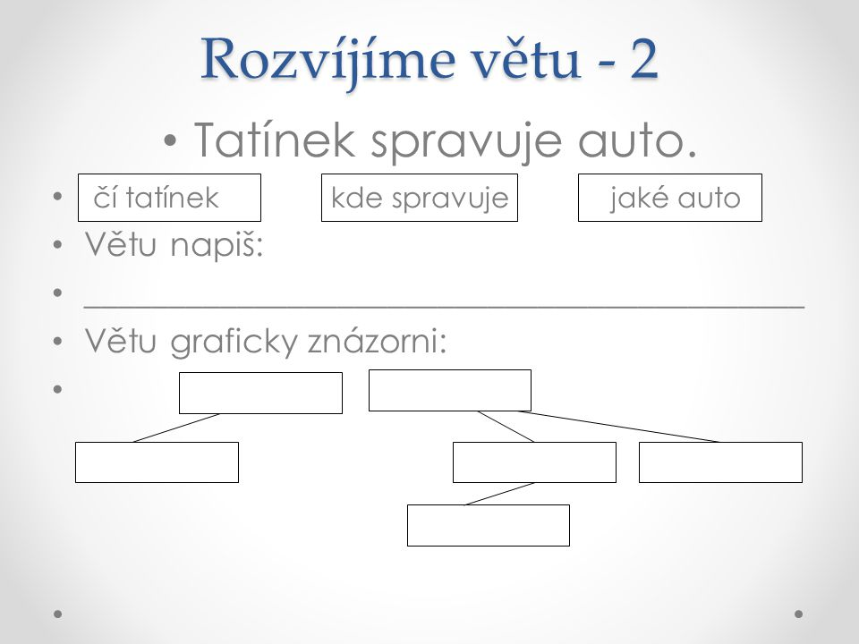 Rozvíjíme větu - 2 Tatínek spravuje auto.