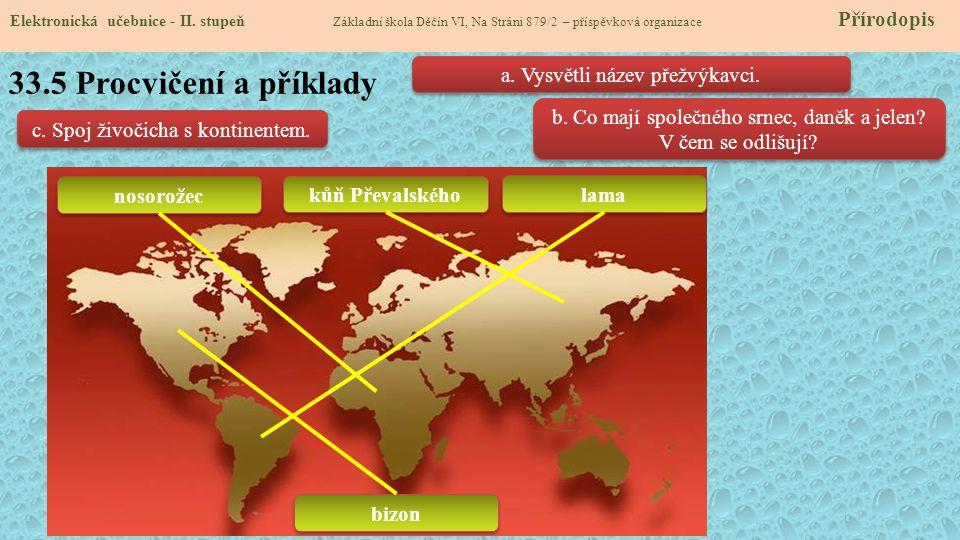 33.5 Procvičení a příklady a. Vysvětli název přežvýkavci.