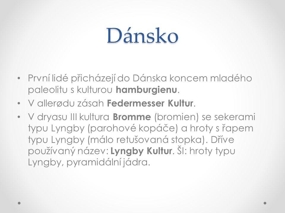 Dánsko První lidé přicházejí do Dánska koncem mladého paleolitu s kulturou hamburgienu. V allerødu zásah Federmesser Kultur.