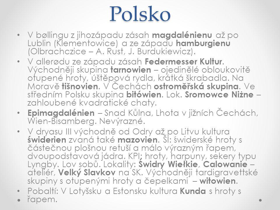 Polsko V bøllingu z jihozápadu zásah magdalénienu až po Lublin (Klementowice) a ze západu hamburgienu (Olbrachczice – A. Rust, J. Burdukiewicz).