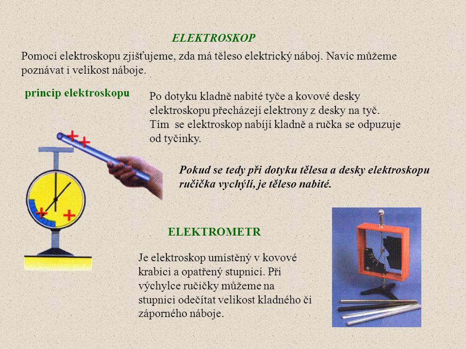ELEKTROSKOP Pomocí elektroskopu zjišťujeme, zda má těleso elektrický náboj. Navíc můžeme poznávat i velikost náboje.