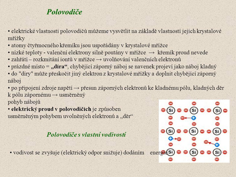 Polovodiče Polovodiče s vlastní vodivostí