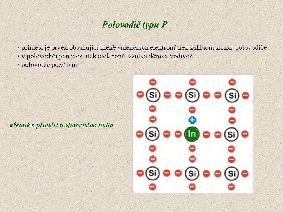Polovodič typu P příměsí je prvek obsahující méně valenčních elektronů než základní složka polovodiče.