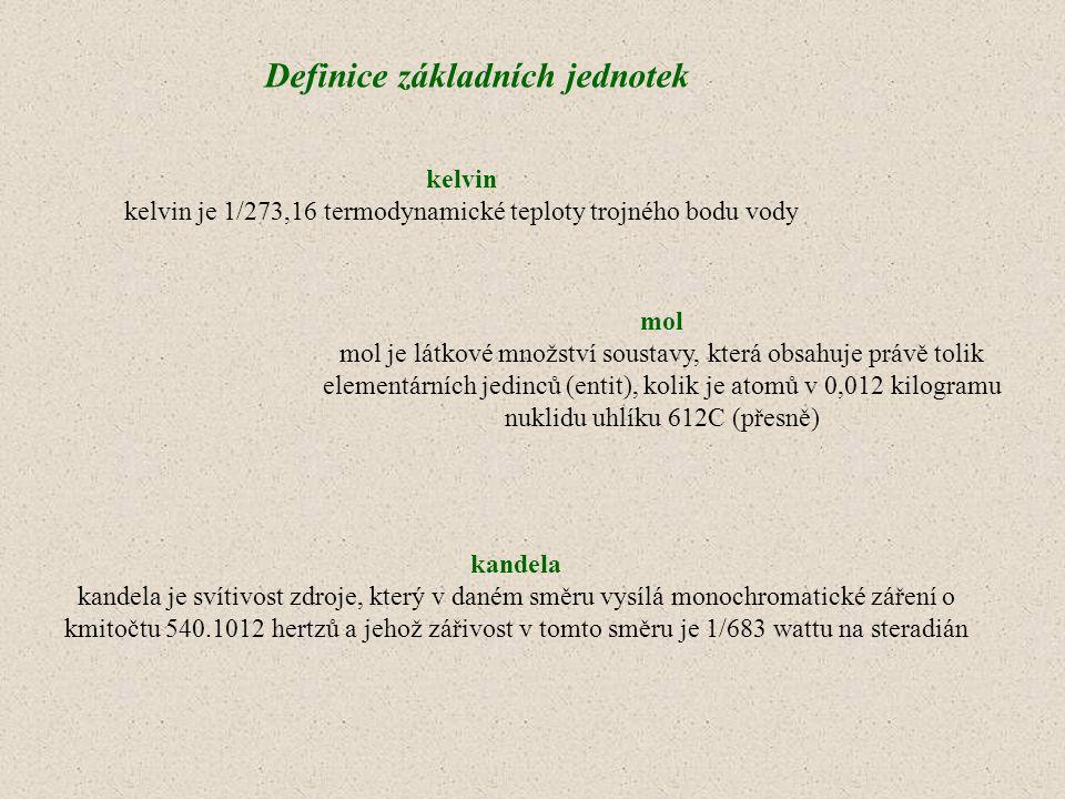 kelvin je 1/273,16 termodynamické teploty trojného bodu vody