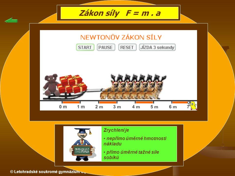 Zákon síly F = m . a Zrychlení je nepřímo úměrné hmotnosti nákladu