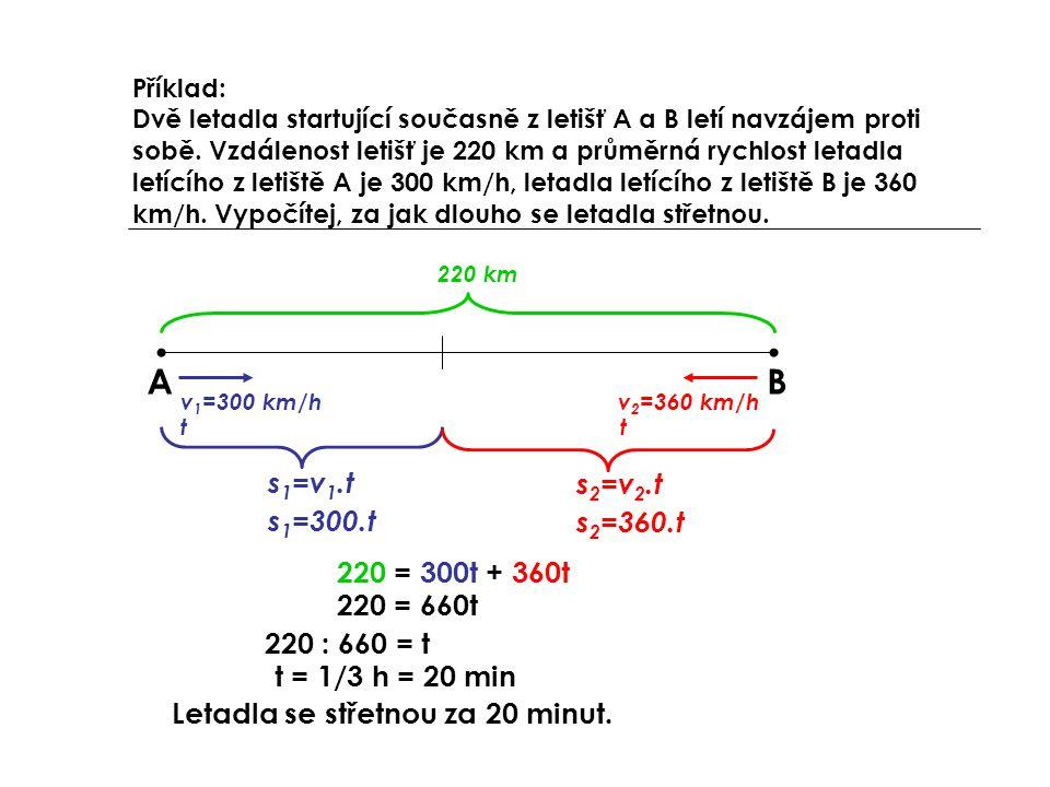 A B s1=v1.t s2=v2.t s1=300.t s2=360.t 220 = 300t + 360t 220 = 660t