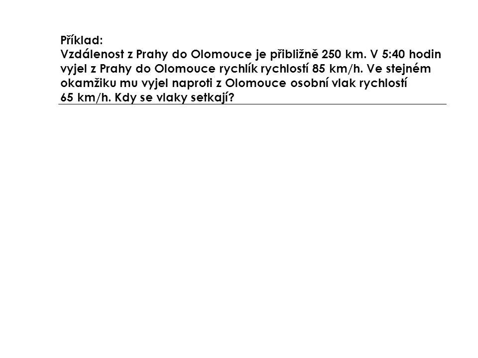 Příklad: Vzdálenost z Prahy do Olomouce je přibližně 250 km