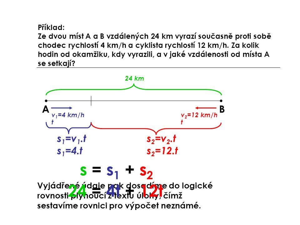 s = s1 + s2 24 = 4t + 12t A B s1=v1.t s2=v2.t s1=4.t s2=12.t