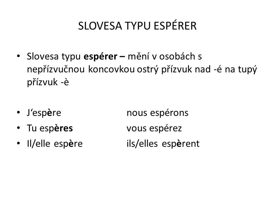 SLOVESA TYPU ESPÉRER Slovesa typu espérer – mění v osobách s nepřízvučnou koncovkou ostrý přízvuk nad -é na tupý přízvuk -è.