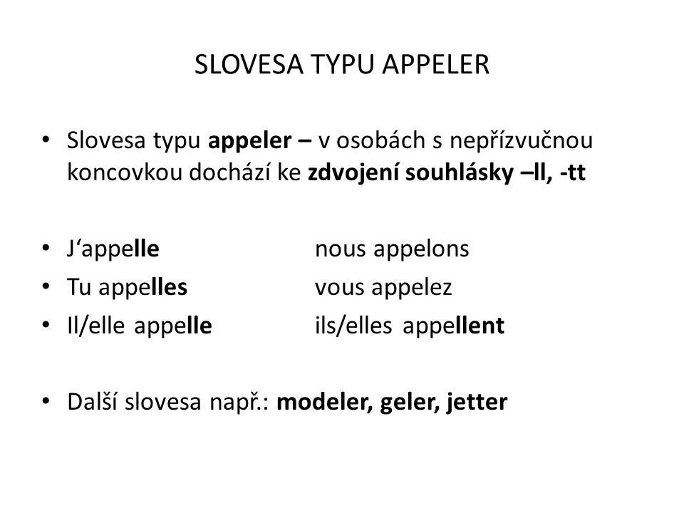 SLOVESA TYPU APPELER Slovesa typu appeler – v osobách s nepřízvučnou koncovkou dochází ke zdvojení souhlásky –ll, -tt.