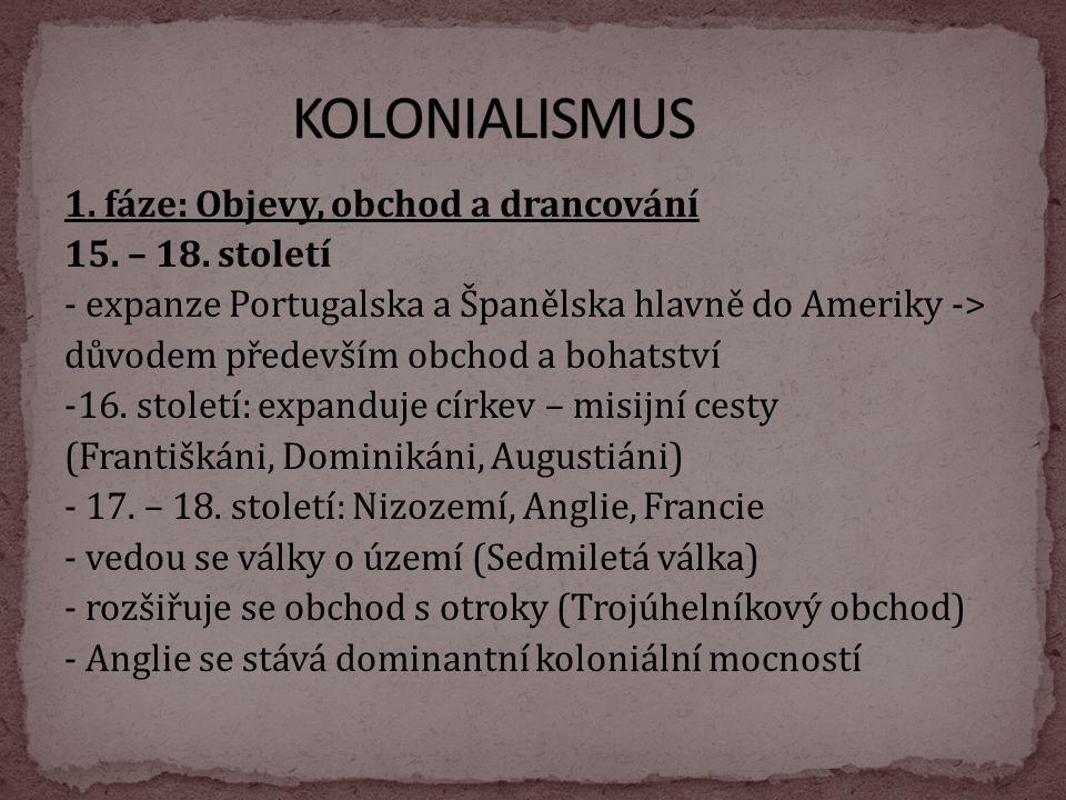 KOLONIALISMUS 1. fáze: Objevy, obchod a drancování 15. – 18. století