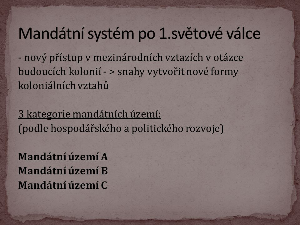 Mandátní systém po 1.světové válce